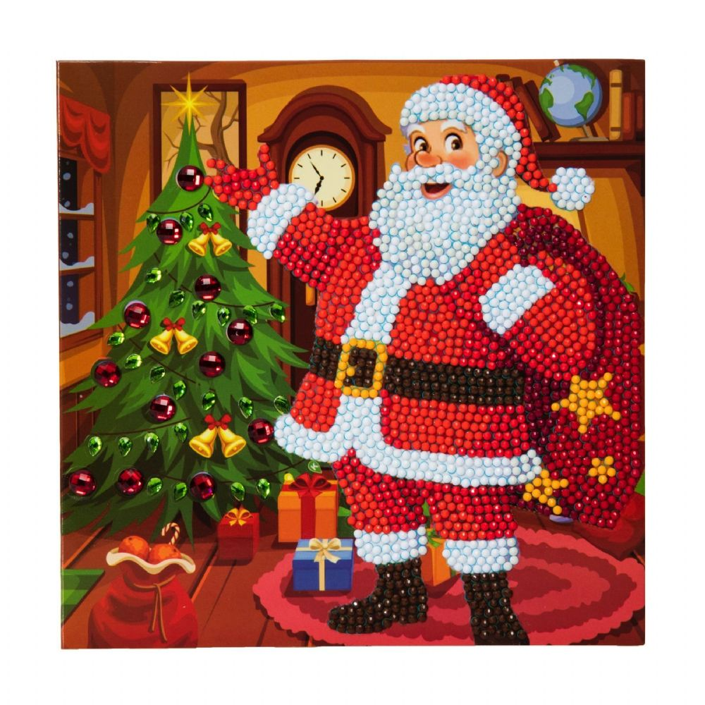 Santa's Here Crystal Art Card Kit